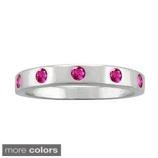 10k White Gold Round-cut Gemstone Birthstone Ring
