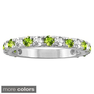 10k White Gold Alternating Gemstone Birthstone Ring