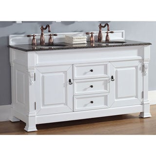 James Martin Furniture Brookfield 60-inch Cottage White Double Vanity with Marble Top