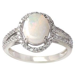 De Buman Sterling Silver Opal Cubic Zirconia Ring