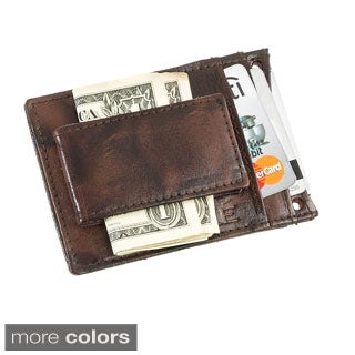 Suvelle Leather Slim Money Clip Wallet with Leather Lanyard Neck Strap