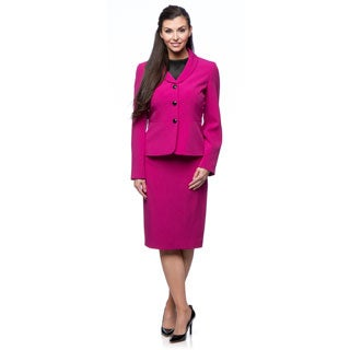 Kasper 3-button Stretch Crepe Single Breasted Narrow Shawl Seamed Waist Skirt Suit