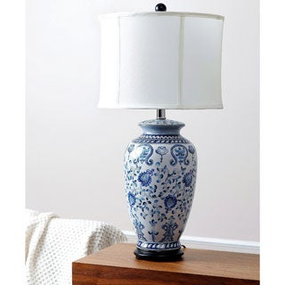 ABBYSON LIVING Hand-painted Asian Blue Table Lamp