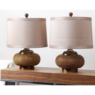 ABBYSON LIVING Monaco Gold Beaded Lamp (Set of 2)