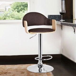 Adeco Light Wood Coffee Fabric Cushioned Low Back Chrome Pedestal Base Hydraulic Lift Adjustable Bar Stool