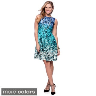 Vince Camuto Floral Print Ombre Fitted Flare Dress