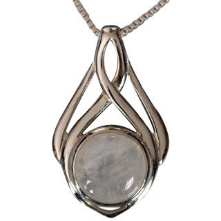 Sterling Silver Celtic Design Round Moonstone Necklace (Thailand)