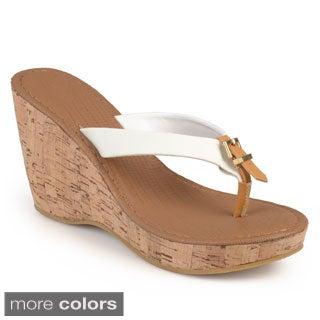 Journee Collection Women's 'Dahlia' Cork Wedge Sandals
