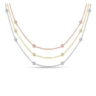 Suzy Levian 14k Gold 1 4/5ct TDW Bezel Diamonds by the Yard Station Necklace (G-H, SI1-SI2)