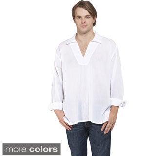 Men's Sheer Cotton Open V-neck Beach Shirt (Nepal)