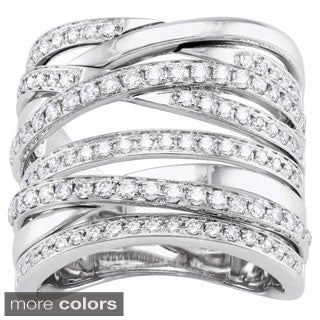 Beverly Hills Charm 14k White Gold 1ct TDW Wide Crossover Diamond Ring (H-I, SI2-I1)