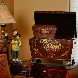 Life Chest Prague Small Deep Cherry and Rosewood Hand-painted Hope Chest