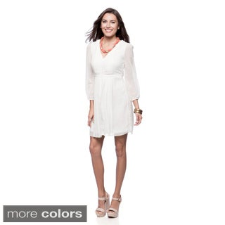 Jessica Simpson Women's Long Billow-sleeve Pleated Peasant Dress