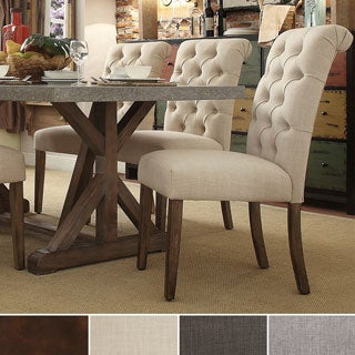 TRIBECCA HOME Benchwright Button Tufts Upholstered Rolled Back Parsons Chairs (Set of 2)