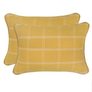 Better Living Yellow Windowpane Plaid 24-inch Decorative Feather Down Accent Kidney Pillow (Set of 2)