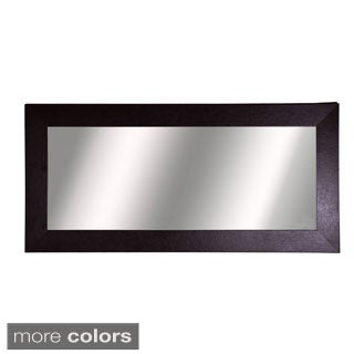 American Made Rayne Wide Brown Leather Double Vanity Wall Mirror