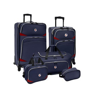 Beverly Hills Country Club by Traveler's Choice San Vincente Navy 5-piece Spinner Luggage Set
