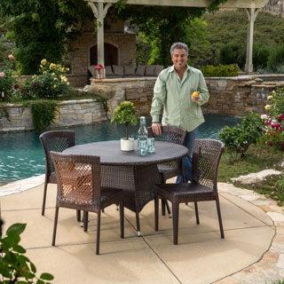 Christopher Knight Home Bertha Outdoor 5-piece Wicker Dining Set