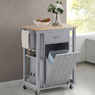 Yonkers Contemporary Grey Kitchen Cart with Wood Top