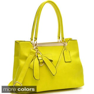 Dasein Gold-Tone Bow Accent Shoulder Bag with Shoulder Strap
