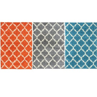 Ultimate Shaggy Collection contemporary Moroccan Trellis Design Area Rug Various Colors and Sizes