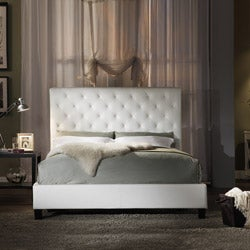Sophie Tufted White Faux Leather Queen-size Platform Bed