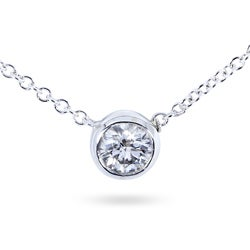 14k Gold 1/3ct TDW Bezel-set Diamond Necklace