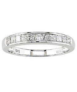 Miadora 14k White Gold 1/2ct TDW Princess Diamond Wedding Band