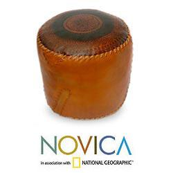 Leather 'Round Brazilian Constellations' Ottoman Cover (Brazil)