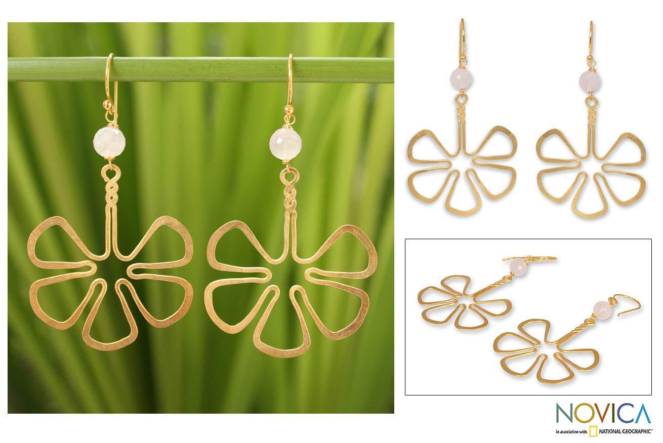 Gold Overlay 'Flower' Rose Quartz Dangle Earrings (Thailand)