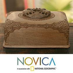 Handcrafted Walnut Wood 'Victory Elephants' Jewelry Box (India)