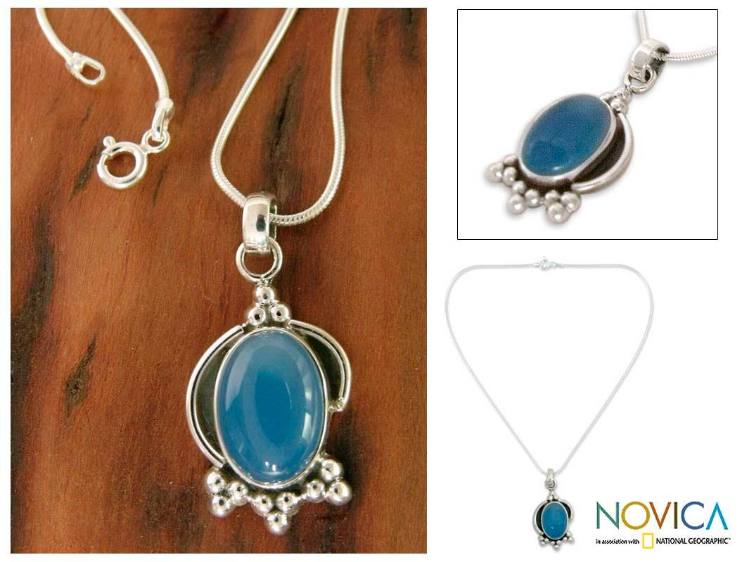 Sterling Silver 'Sky Charm' Chalcedony Necklace (India)