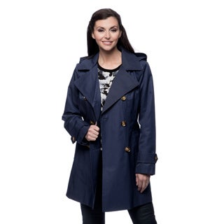 Anne Klein Missy Marine Blue Double-breasted Trench Coat