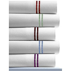 Polka Dot Embroidered 400 Thread Count Cotton Sateen Extra Deep Pocket Sheet Set