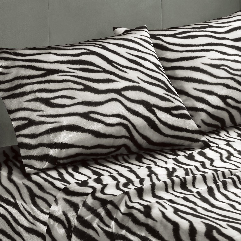 Premier Comfort Zebra Polyester Textured Satin 6-piece Full-size Sheet Set
