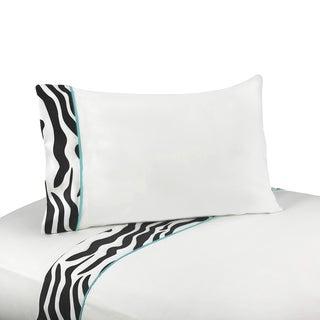 Sweet JoJo Designs 200 Thread Count Turquoise Funky Zebra Bedding Collection Sheet Set
