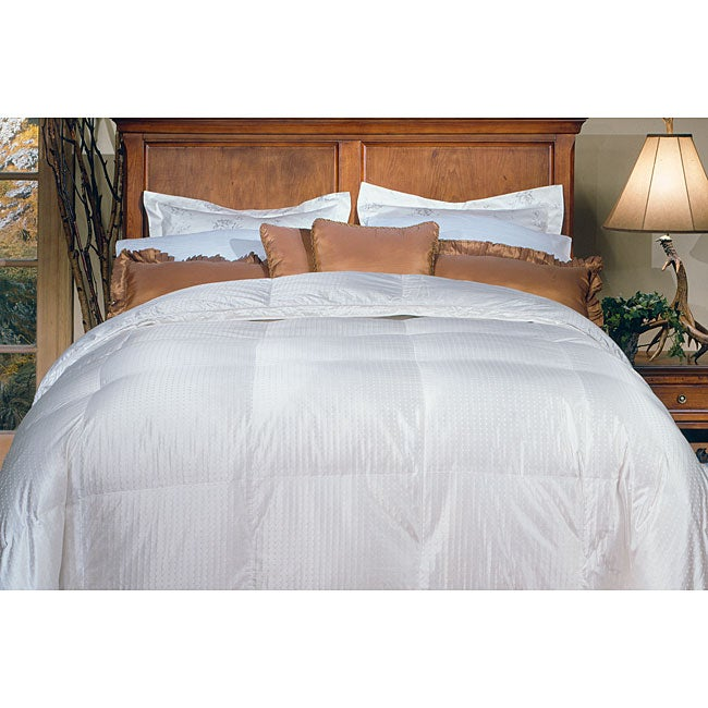 AT HOME by O Silk/ Cotton Oversized 650 Thread Count Damask Stripe White Goose Down Comforter at Sears.com