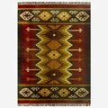 Hand-woven Kilim Burgundy Jute/ Wool Rug (8&#39; x 10&#39;)