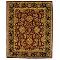 Handmade Heritage Kashan Burgundy/ Black Wool Rug (9&#39;6&#39; x 13&#39;6)