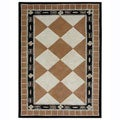 Hand-tufted Tile Brown Wool Rug (5&#39; x 8&#39;)