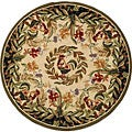 Hand-hooked Rooster and Hen Cream/ Black Wool Rug (3' Round)