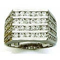 Simon Frank 14k White Gold Overlay Men&#39;s CZ Channel Ring
