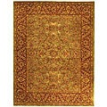 Handmade Taj Mahal Green/ Rust Wool Rug (8&#39;3 x 11&#39;)