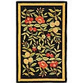 Safavieh Hand-Hooked Garden-Pattern Black/Multicolored Wool Runner (2'6