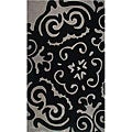 Hand-tufted Floral Black/ Grey Wool Rug (5&#39; x 8&#39;)