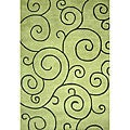 Hand-tufted Sarah Scrolls Lime Green Wool Rug (5' x 8')