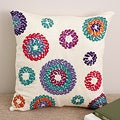 Hand-stitched 'Circles' 16x16 Cream Silk Decorative Pillow Cover (India)