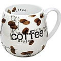 Konitz &#39;Coffee Collage Snuggle&#39; 14-oz White Mugs (Set of 2)