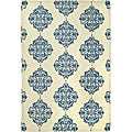 Hand-hooked Miff Ivory/ Blue Wool Rug (7&#39;9 x 9&#39;9)