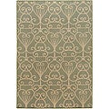 Cafe Beige/Sage Geometric Indoor/Outdoor Rug (6' x 9')